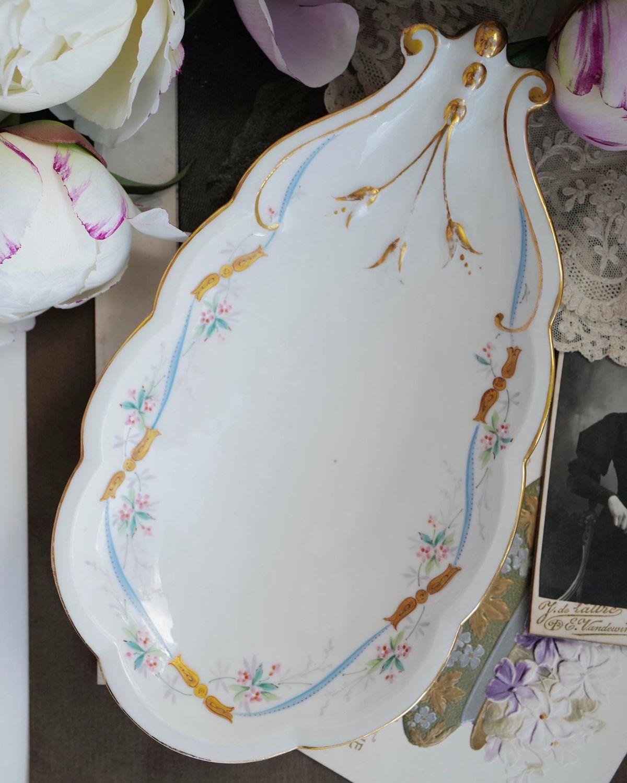 Винтаж: Старинная сервировочная тарелка. Ампир. Франция, 1900, Тарелки винтажные, Москва,  Фото №1