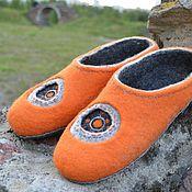 """Тапочки ручной работы. Ярмарка Мастеров - ручная работа Валяные тапочки """"Оранжевая галактика"""". Handmade."""