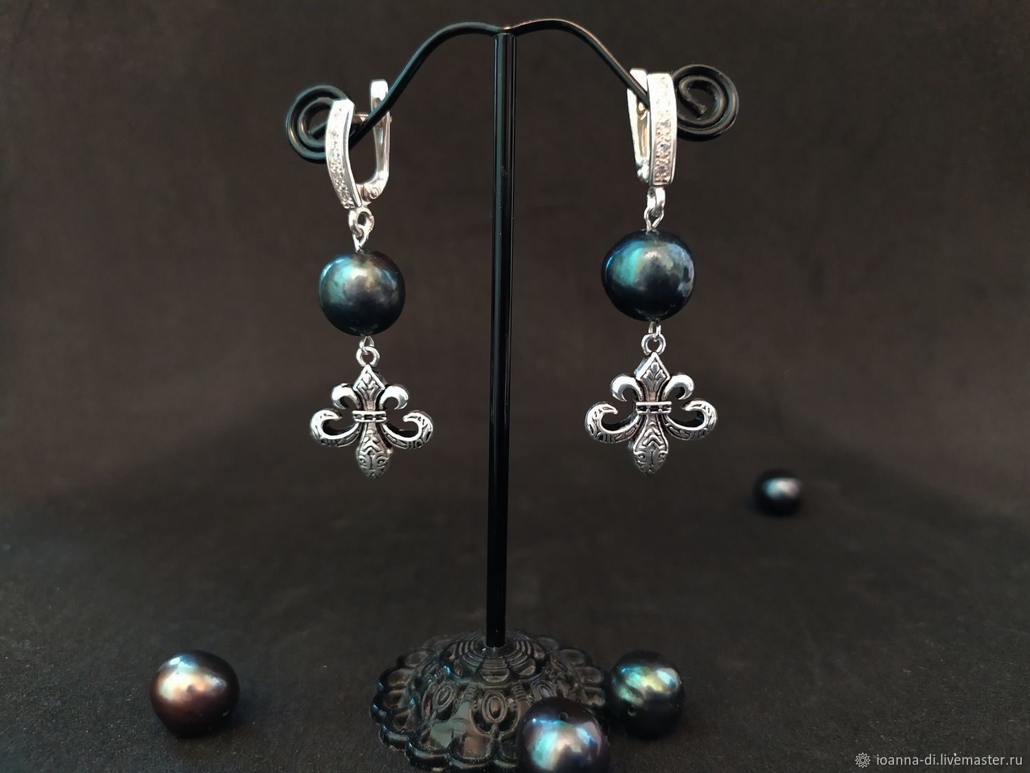 VIP earrings silver with pearls, Earrings, Moscow,  Фото №1