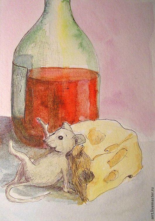 Юмор ручной работы. Ярмарка Мастеров - ручная работа. Купить Мышь сыр и вино Принт Акварель. Handmade. Юмор