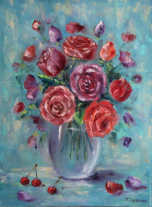 """Картины цветов ручной работы. Ярмарка Мастеров - ручная работа. Купить Картина маслом """"Наслаждение"""". Handmade. Роза, цветы"""