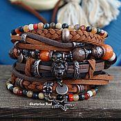 handmade. Livemaster - original item Boho style bracelet, suede, leather