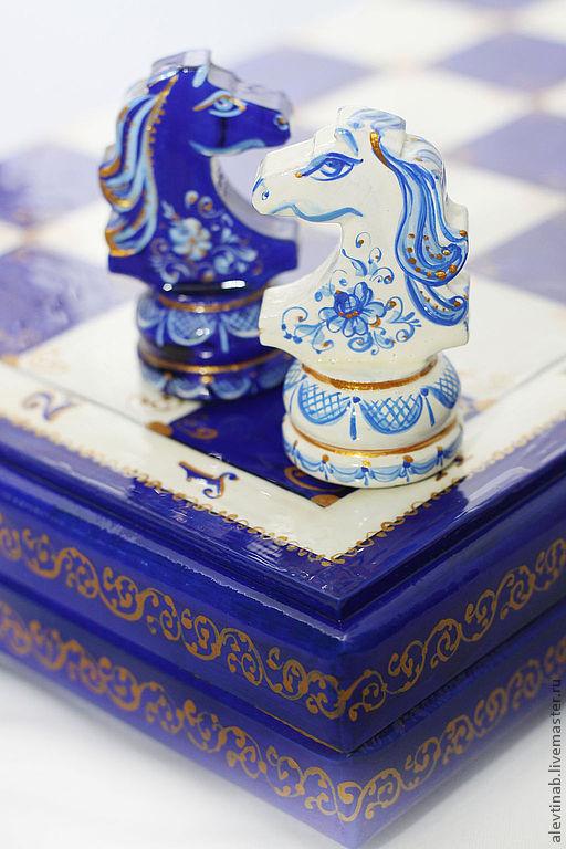 шахматы подарочные Гжель-кобальт, шахматные фигуры с рисунком, шахматная доска лаковая,шахматы с  рисунком, шахматы расписные,сувенир из дерева,настольные шахматы,шахматы шашки нарды,Алевтина Белякова