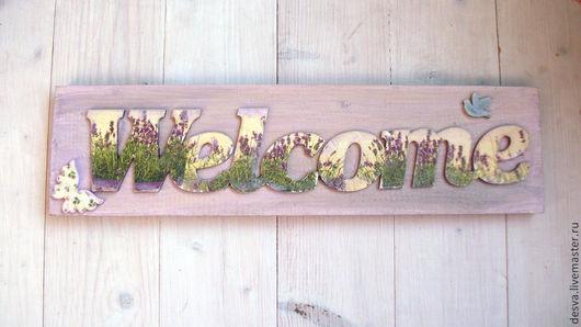 """Интерьерные слова ручной работы. Ярмарка Мастеров - ручная работа. Купить интерьерная табличка """"Welcome"""". Handmade. Бледно-сиреневый"""