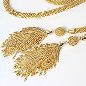 Украшения handmade. Livemaster - original item Lariat gold tassel-tails. Handmade.