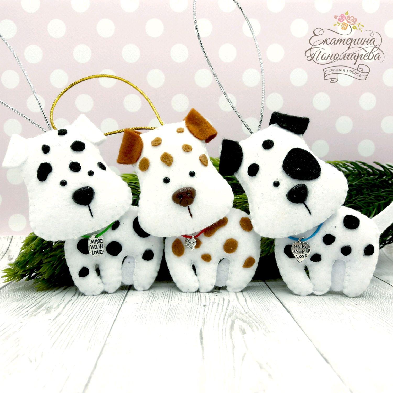 Puppies. The dog felt. Dalmatians, Christmas decorations, Chekhov,  Фото №1