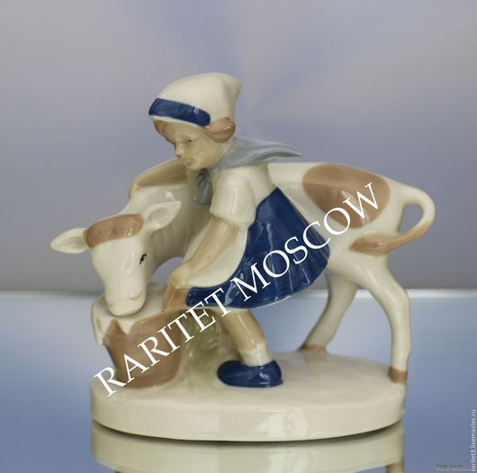 Винтажные предметы интерьера. Ярмарка Мастеров - ручная работа. Купить Девочка корова бык ведро Германия 30. Handmade. Статуэтка