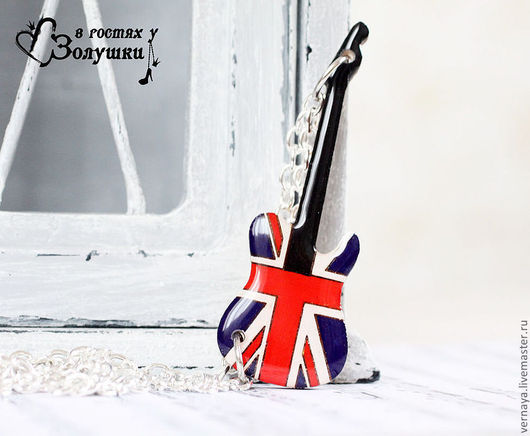 Pendants handmade. Livemaster - handmade. Buy Pendant on a chain 'the British flag in the shape of a guitar'.