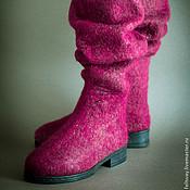 Обувь ручной работы. Ярмарка Мастеров - ручная работа Сапоги войлочные бордовые длинные. Handmade.