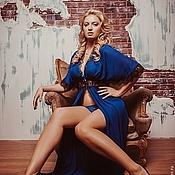 """Одежда ручной работы. Ярмарка Мастеров - ручная работа Пеньюар """"Ундина"""" - ультрамариново-синийс черным кружевом. Handmade."""