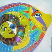 Картины ручной работы. Ярмарка Мастеров - ручная работа Рыбка-Всевидящее Око Панно-оберег с витражной росписью на диске. Handmade.