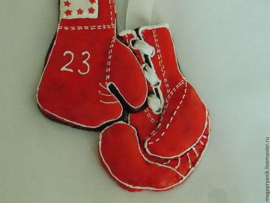 Кулинарные сувениры ручной работы. Ярмарка Мастеров - ручная работа. Купить Пряничные боксерские перчатки. Handmade. Ярко-красный, бокс