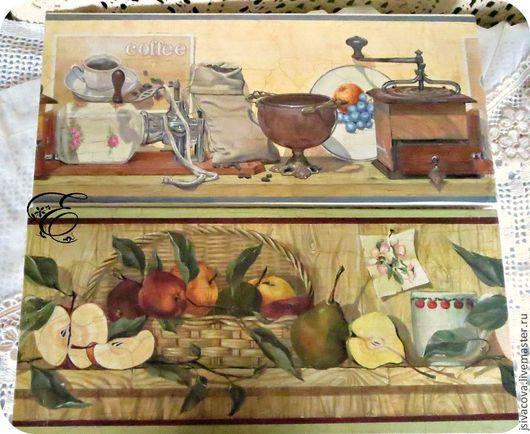 Диптих с натюрмортами для кухонного интерьера в технике художественный декупаж.