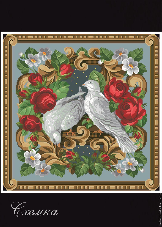 Схемы вышивки пары птиц