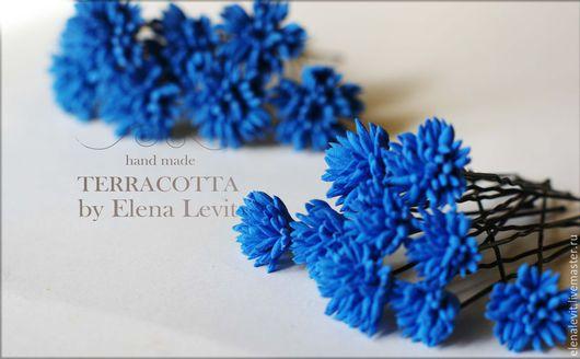 Васильки в прическу из полимерной глины. Terracotta by Elena Levit.
