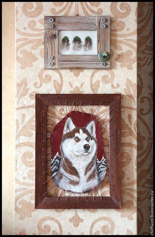 Животные ручной работы. Ярмарка Мастеров - ручная работа. Купить Картины в рамке на шнуре. Handmade. Картина, собаки