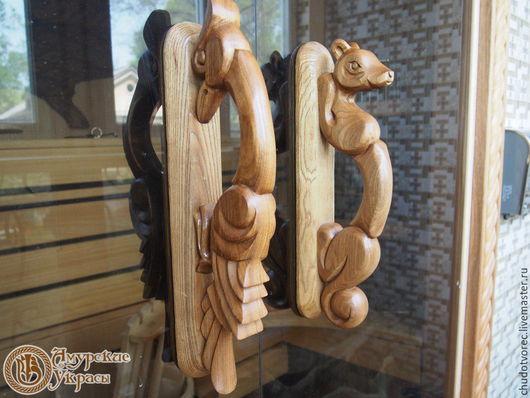 Деревянные дверные ручки. Резьба по дереву.