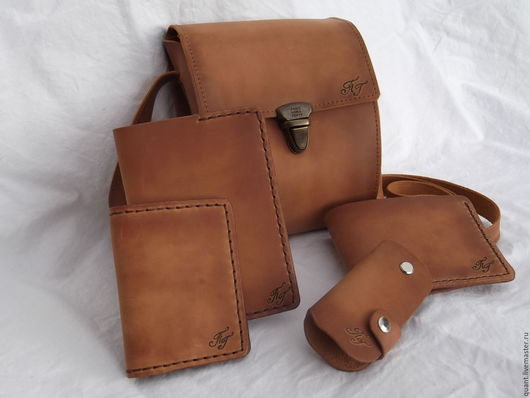 Комплекты аксессуаров ручной работы. Ярмарка Мастеров - ручная работа. Купить кожаная сумка и аксессуары в комплекте. Handmade. Рыжий