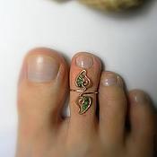 """Украшения ручной работы. Ярмарка Мастеров - ручная работа Кольцо на палец ноги """"Нефритовые листочки"""". Handmade."""