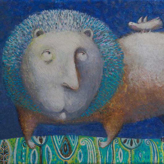"""Животные ручной работы. Ярмарка Мастеров - ручная работа. Купить """"Лев и птичка"""",  авторская печать. Handmade. Синий, готический наив"""
