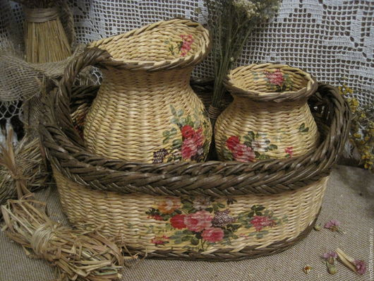 """Кухня ручной работы. Ярмарка Мастеров - ручная работа. Купить Плетеный набор """"Любимый"""". Handmade. Плетение из бумаги, для кухни и интерьера"""