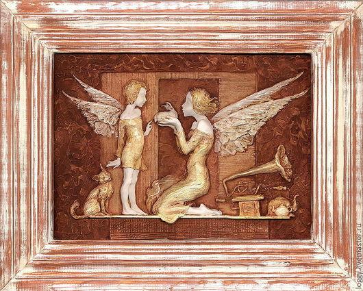 Символизм ручной работы. Ярмарка Мастеров - ручная работа. Купить маленькое чудо. Handmade. Бежевый, панно в детскую, ангел, ангелочек