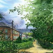 """Картины и панно ручной работы. Ярмарка Мастеров - ручная работа Акварель """"Прогулка с видом на горы"""". Handmade."""