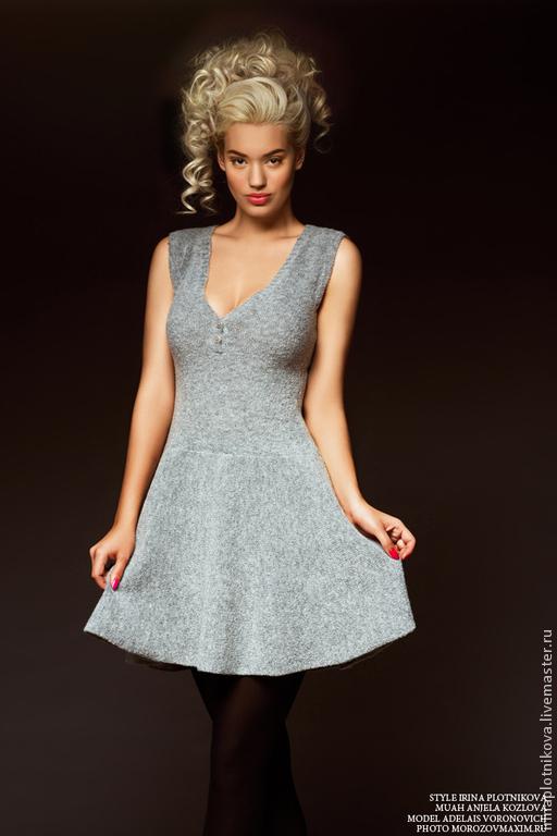 Платья ручной работы. Ярмарка Мастеров - ручная работа. Купить Скидка -40% Платье из буклированной пряжи. Handmade. Серый, платье
