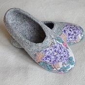 """Обувь ручной работы. Ярмарка Мастеров - ручная работа Тапочки """"Гербарий. Гортензия"""". Handmade."""
