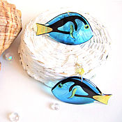 Украшения handmade. Livemaster - original item Transparent Earrings Blue Sea Fish Ocean Fish Epoxy Resin. Handmade.