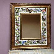 Для дома и интерьера handmade. Livemaster - original item Mirror Butterflies and butterfly Painting ceramic Painting tile. Handmade.