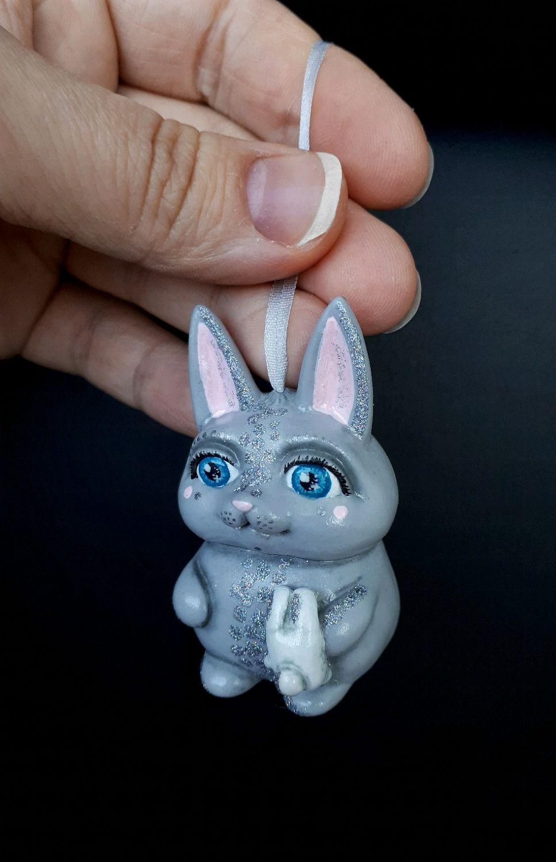Елочная игрушка Зайчик в серебре, Мини фигурки и статуэтки, Краснодар,  Фото №1