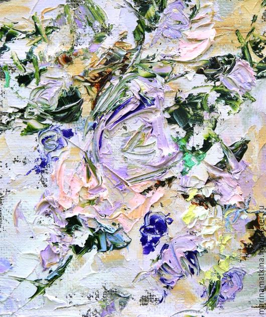 Лиловая сиреневая картина в спальню по индивидуальному заказу маслом на холсте с подрамником. Художник Марина Маткина Пермь, купить заказать картину. Картина с цветами роз, хризантемы, пионы, лаванды.