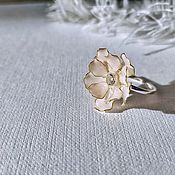 Rings handmade. Livemaster - original item The Cocktail ring is Blooming with Apricot cubic Zirconia. Handmade.
