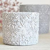 Цветы и флористика handmade. Livemaster - original item Concrete pot laced hat, set large and small. Handmade.