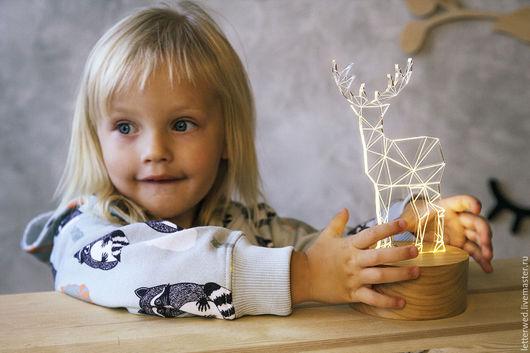 """Освещение ручной работы. Ярмарка Мастеров - ручная работа. Купить Светильник-ночник """"Олень"""". Handmade. Серый, светильник, светильник из дерева"""