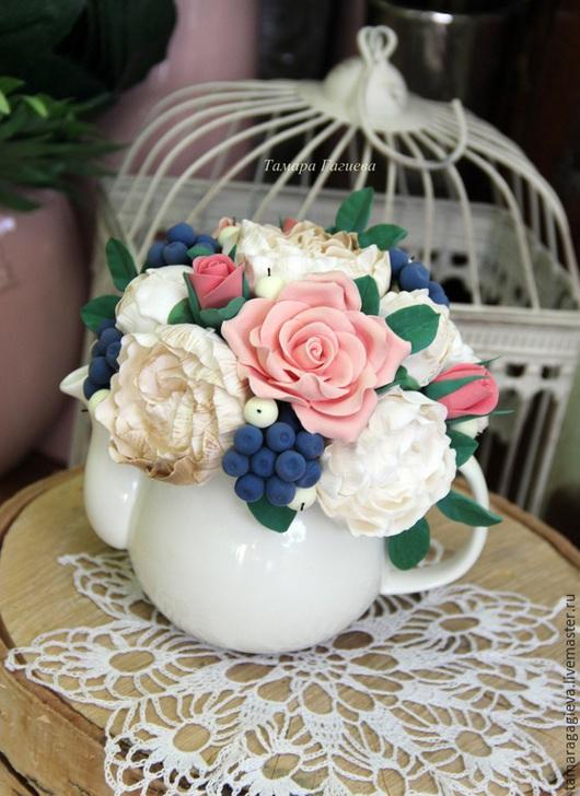 Цветы ручной работы. Ярмарка Мастеров - ручная работа. Купить Ягодная композиция в чайничке. Handmade. Тёмно-синий, Осенние цвета