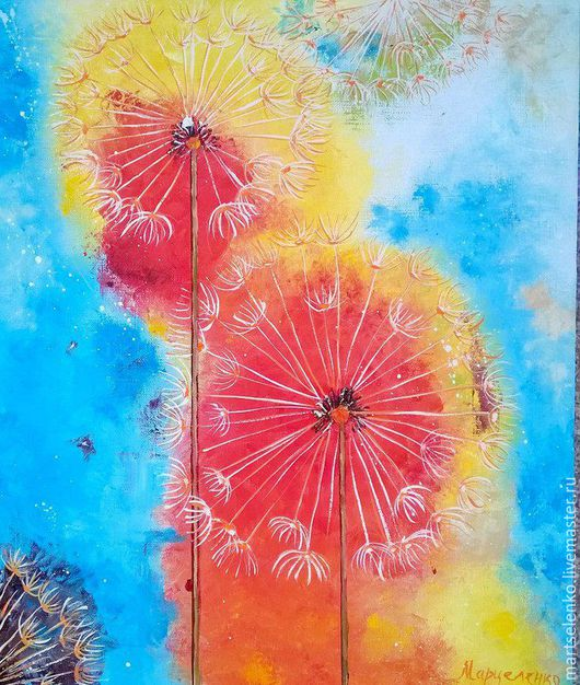 Картины цветов ручной работы. Ярмарка Мастеров - ручная работа. Купить Одуванчики. Handmade. Комбинированный, ручная работа, для интерьера