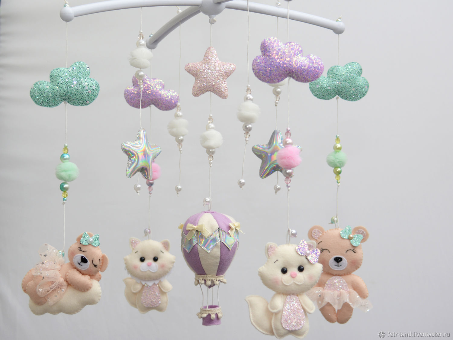 Mobile for girls on the cot ' Bears and kittens', Toys for cribs, Belgorod,  Фото №1