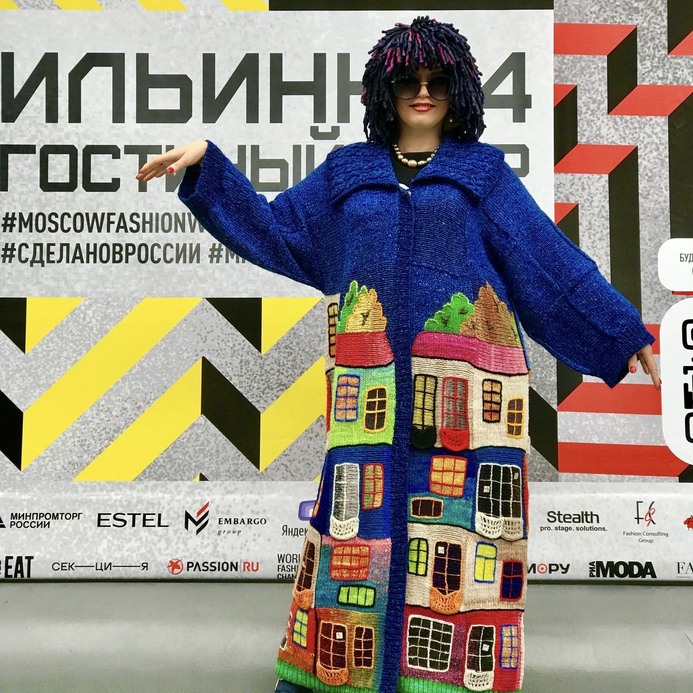 "Пальто ""Вечерний Хундертвассер"" ярко-синий, Пальто, Москва,  Фото №1"