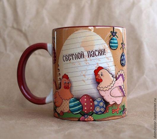 """Подарки на Пасху ручной работы. Ярмарка Мастеров - ручная работа. Купить Чашка """"Пасха. Курочки"""". Handmade. Пасха, петушок, бордовый"""