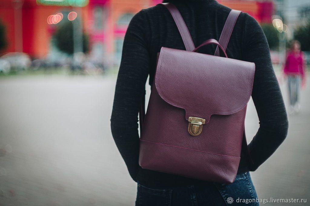 Backpack leather female 'Bordo' (Burgundy), Backpacks, Yaroslavl,  Фото №1