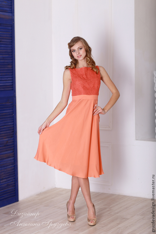 """Платья ручной работы. Ярмарка Мастеров - ручная работа. Купить """"Нежность розы"""", повседневное женское платье. Handmade. Оранжевый, мода"""