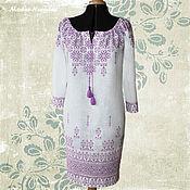 Одежда ручной работы. Ярмарка Мастеров - ручная работа Вышитые платья из льна НАРЯДНОЕ-НЕНАГЛЯДНОЕ ФИОЛЕТ Платье вышиванка. Handmade.