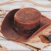 Головные уборы ручной работы. Ярмарка Мастеров - ручная работа Шляпа из натуральной кожи в стиле Стимпанк. Handmade.