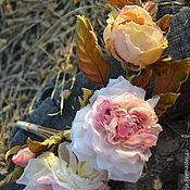 Украшения handmade. Livemaster - original item Silk flowers Headband with flowers Buckwheat honey. Handmade.