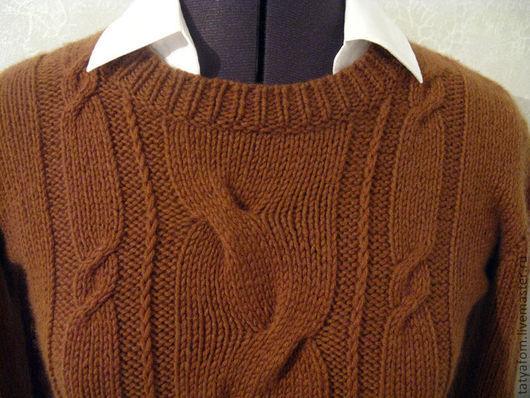 """Кофты и свитера ручной работы. Ярмарка Мастеров - ручная работа. Купить Джемпер """"Ирис"""". Handmade. Коричневый, вязанный джемпер, телесный"""