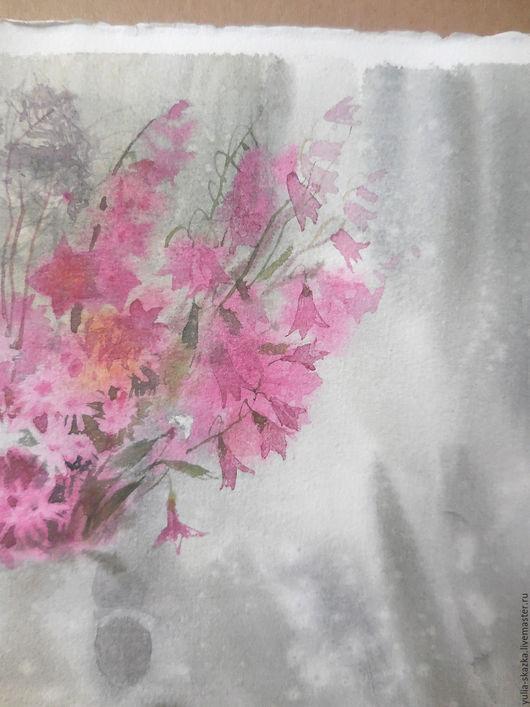 Картины цветов ручной работы. Ярмарка Мастеров - ручная работа. Купить акварель Зимний букет 2. Handmade. Розовый, сон