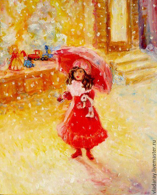 Картина `Подарок на Рождество` 50x40 см  Доставка по всему миру авиа почтой бесплатно.  Картина маслом - красивый подарок на Рождество, Новый Год,  юбилей, день рождения и другие праздники.