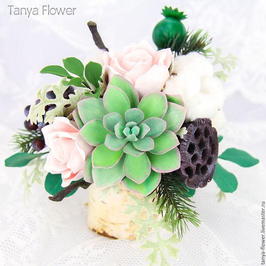 Интерьерные композиции ручной работы. Ярмарка Мастеров - ручная работа. Купить Букет с розами и суккулентами. Handmade. Tanya flower